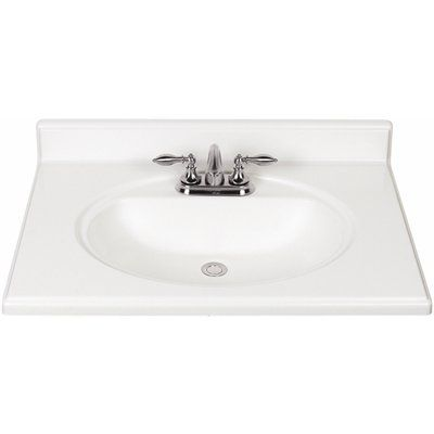 Style Selections Luna White Cultured Marble Integral Bathroom Vanity Top