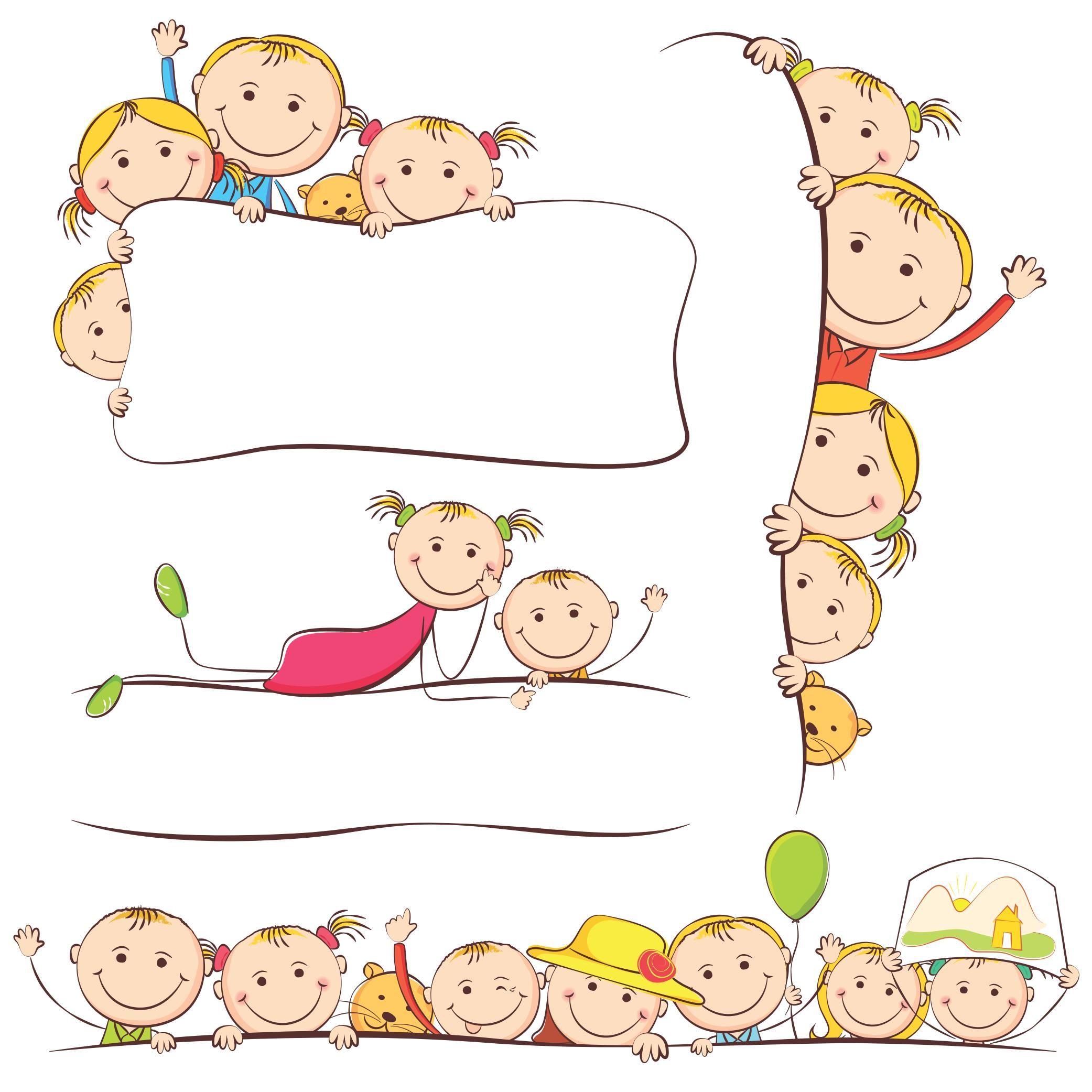 cartoon children kids people 05 - Cartoon Drawings For Kids Free