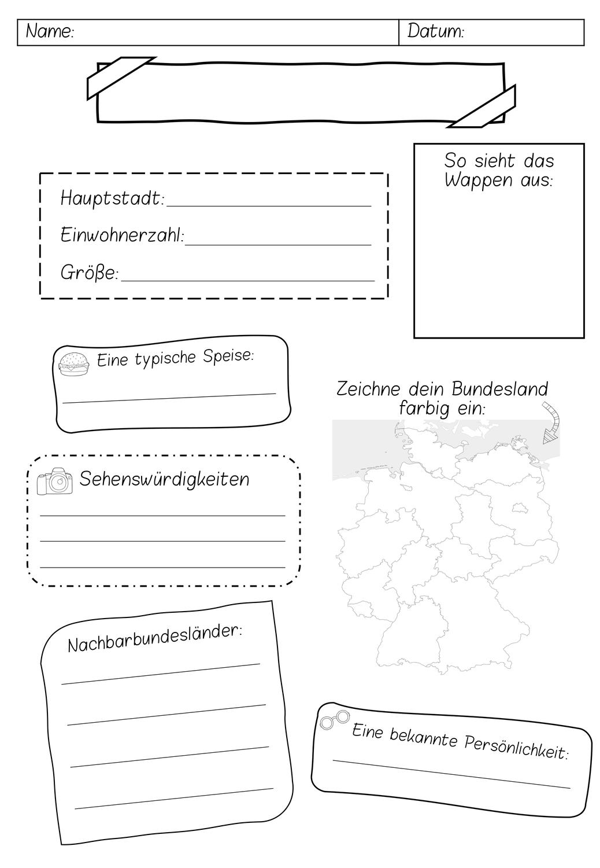 Steckbrief Bundesland   Arbeitsblatt – Unterrichtsmaterial im Fach ...