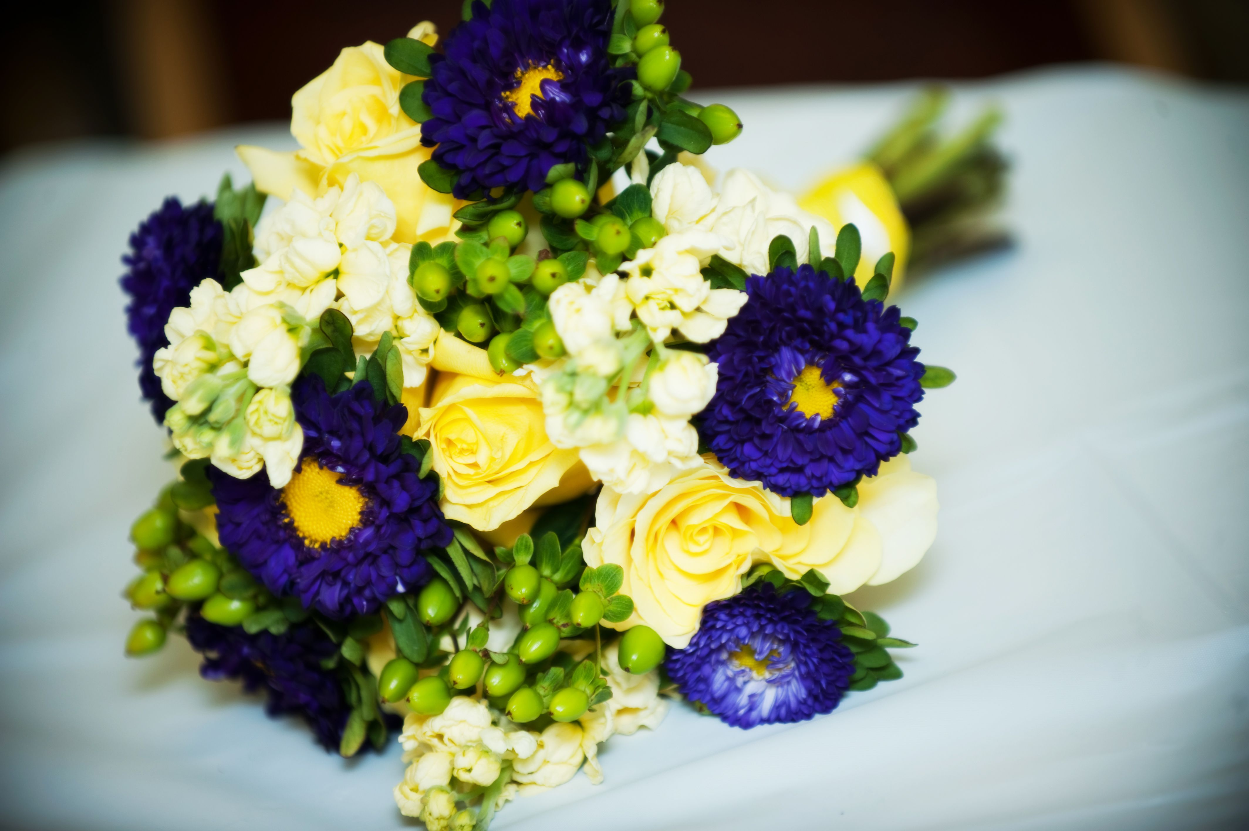 Yellow And Purple Make A Statement For A Summer Wedding Stock