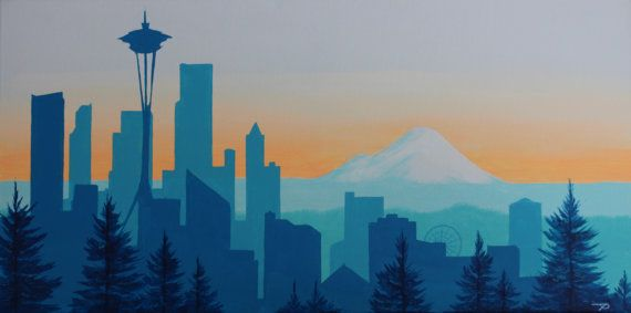 Custom city skyline silhouette paintings: Seattle by BrovaBros