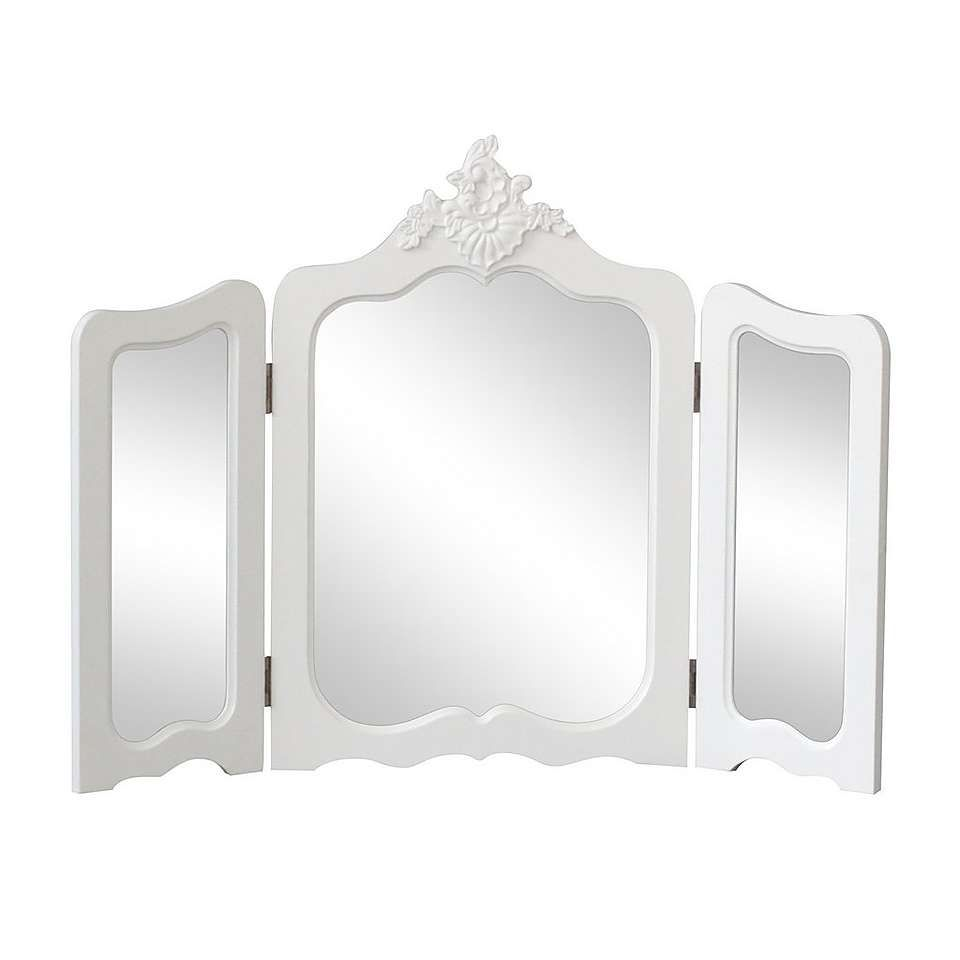 Featuring Three Mirrors Encompassed By Elegantly Curved Edges This Foldable Vanity Mirror Comes Fully Assembled And Is Decorated With An Ornate Floral
