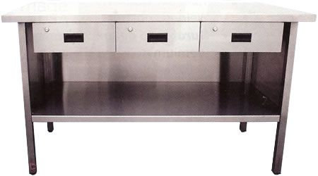 stainless steel workbenches with shell 3 drawers across steel tables