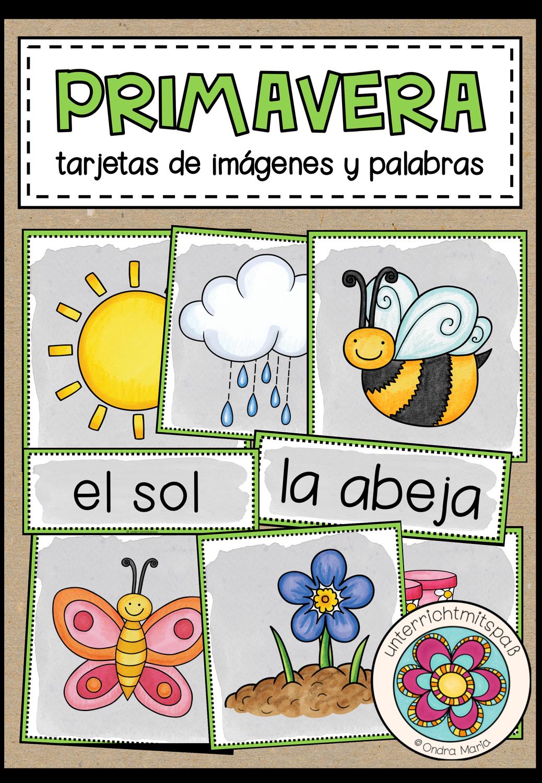 Primavera Fruhling Bild Und Wortkarten Spanisch Unterrichtsmaterial Im Fach Spanisch Unterrichtsmaterial Wortkarte Sekundarstufe
