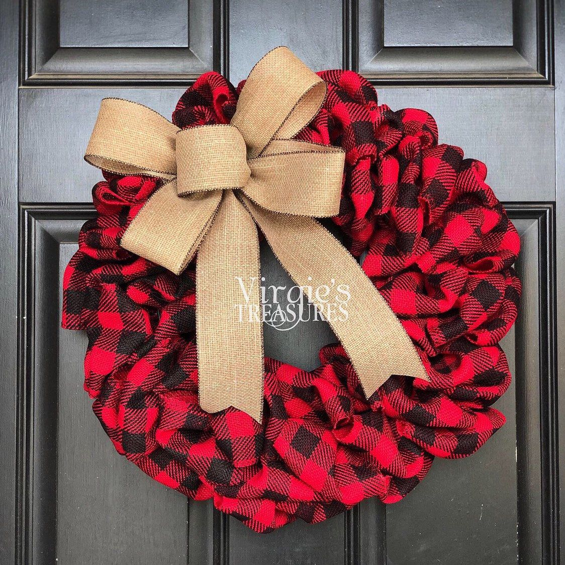 Photo of Buffalo Plaid Wreath, Front Door Wreath, Holiday Wreath, Red Black Buffalo Plaid Wreath, Farmhouse Christmas Wreath, Christmas Wreath