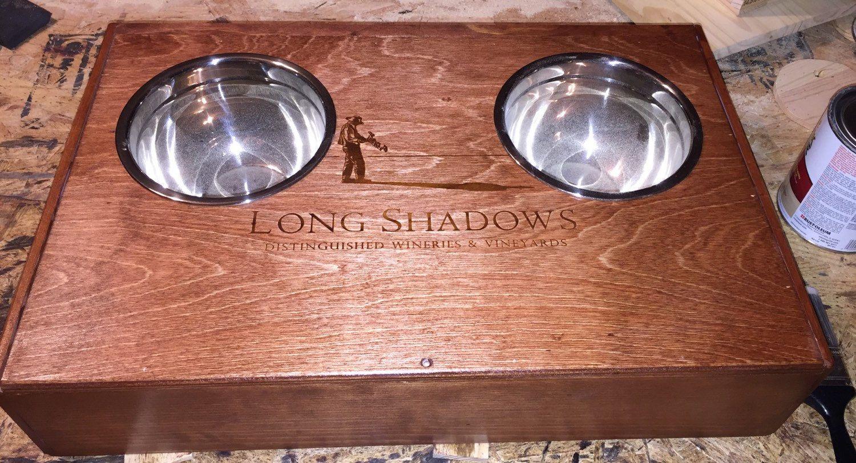Wine crate dog feeder, dog dish, dog feeder, dog bowl, wine, wine crate, wooden dog feeder, dog feeding station, pet feeding station by PatterdaleTalesLLC on Etsy