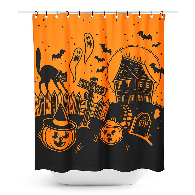 Sourpuss Haunted House Shower Curtain Halloween Shower Curtain