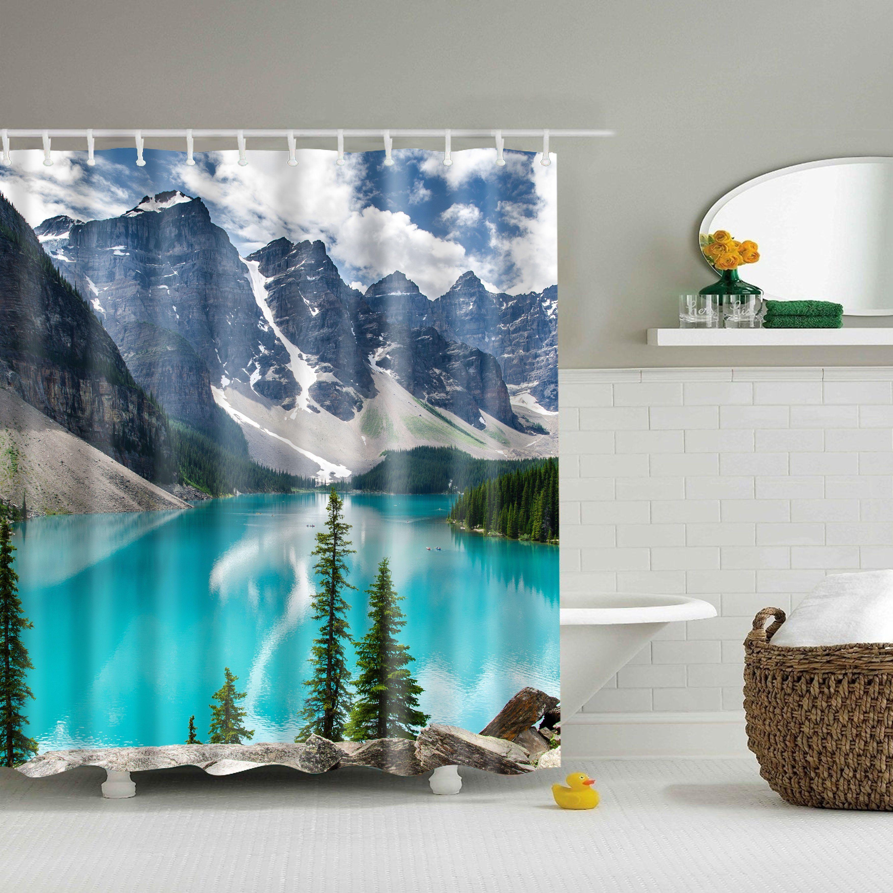 Beautiful Nature Mountain Lake Themed Shower Curtain Bathroom Decor Fabric Shower Curtains Shower Curtain Art Bathroom Shower Curtains