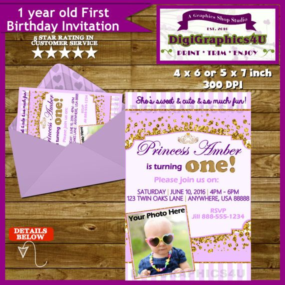 Princess First Birthday One Year Old Baby Girl By DigiGraphics4u Invitation Etsy