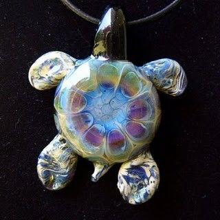 Blown Glass Art Animal Brown Happy TURTLE Tortoise Figurine
