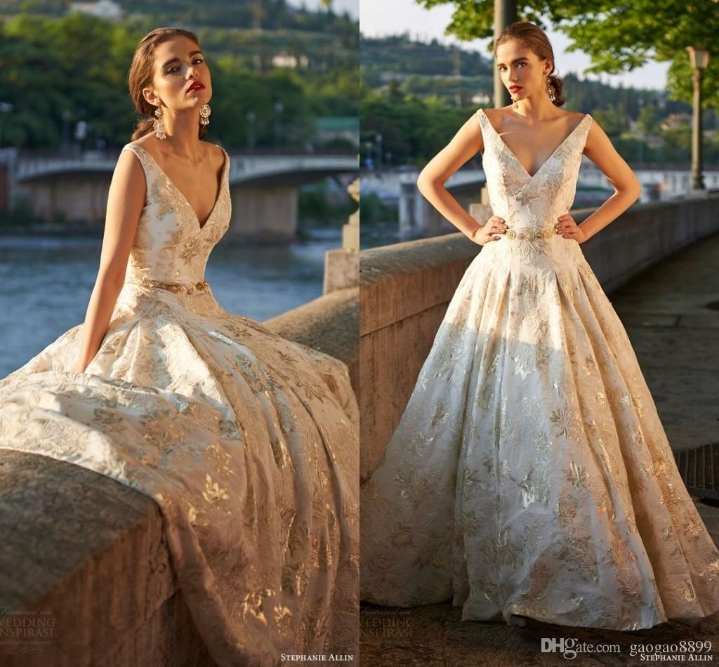 Stephanie allin bridal 2017 gold sleeveless princess plus size stephanie allin bridal 2017 gold sleeveless princess plus size wedding dresses lace applique royal outdoor arabic ombrellifo Gallery