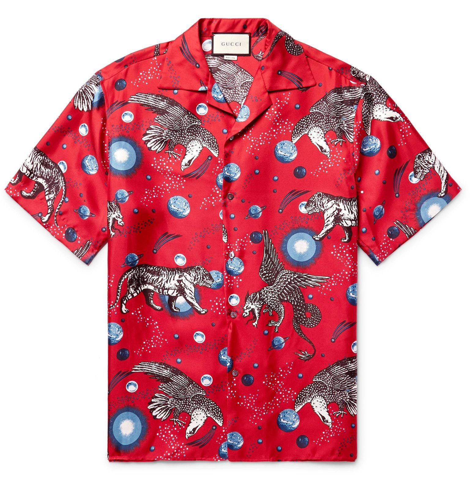 fc73f505c GUCCI Space Animals Camp-Collar Printed Silk-Twill Shirt | Fashion ...