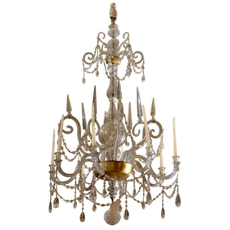 A fine 18th century venetian crystal chandelier with gilt detail a fine 18th century venetian crystal chandelier with gilt detail price 85000 country italy date of manufacture 18th century materials twisted crystal aloadofball Images