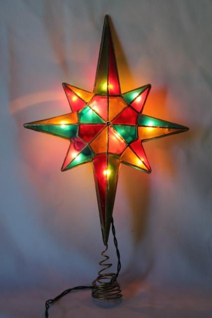 80s 90s Vintage Christmas Tree Topper Ornament Lighted Star Capiz Vintage Christmas Tree Toppers Glass Christmas Decorations Christmas Tree Topper Ornaments