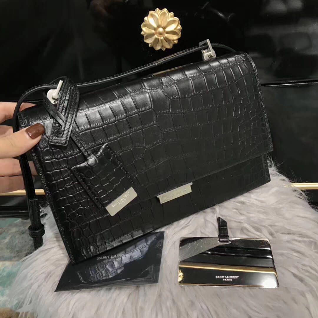 df452fd453 Saint Laurent 484509 Medium Babylone Chain Bag in Black Crocodile ...