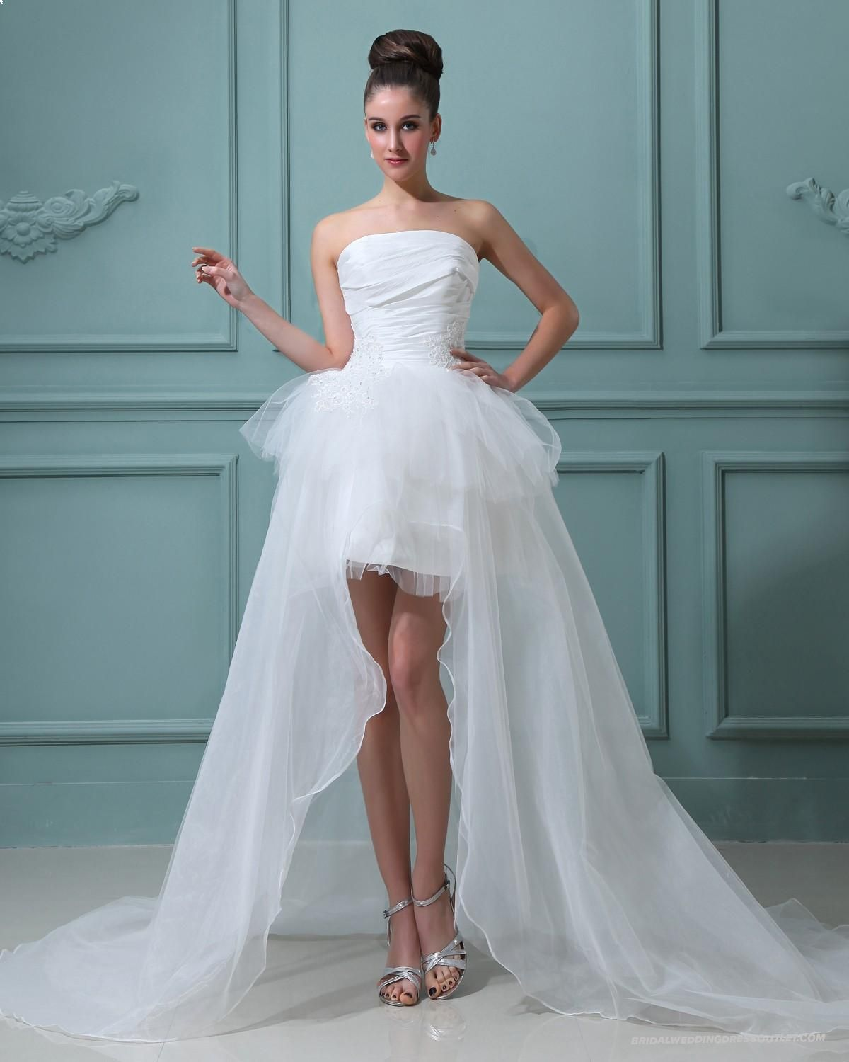 Stylish Strapless Taffeta Sash Short Bridal Gown Wedding Dress Of ...