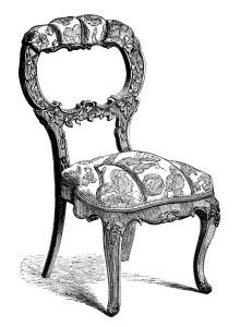 Beautiful Vintage Chair Clip Art, Black And White Clipart, Antique Chair Engraving, Old  Fashioned