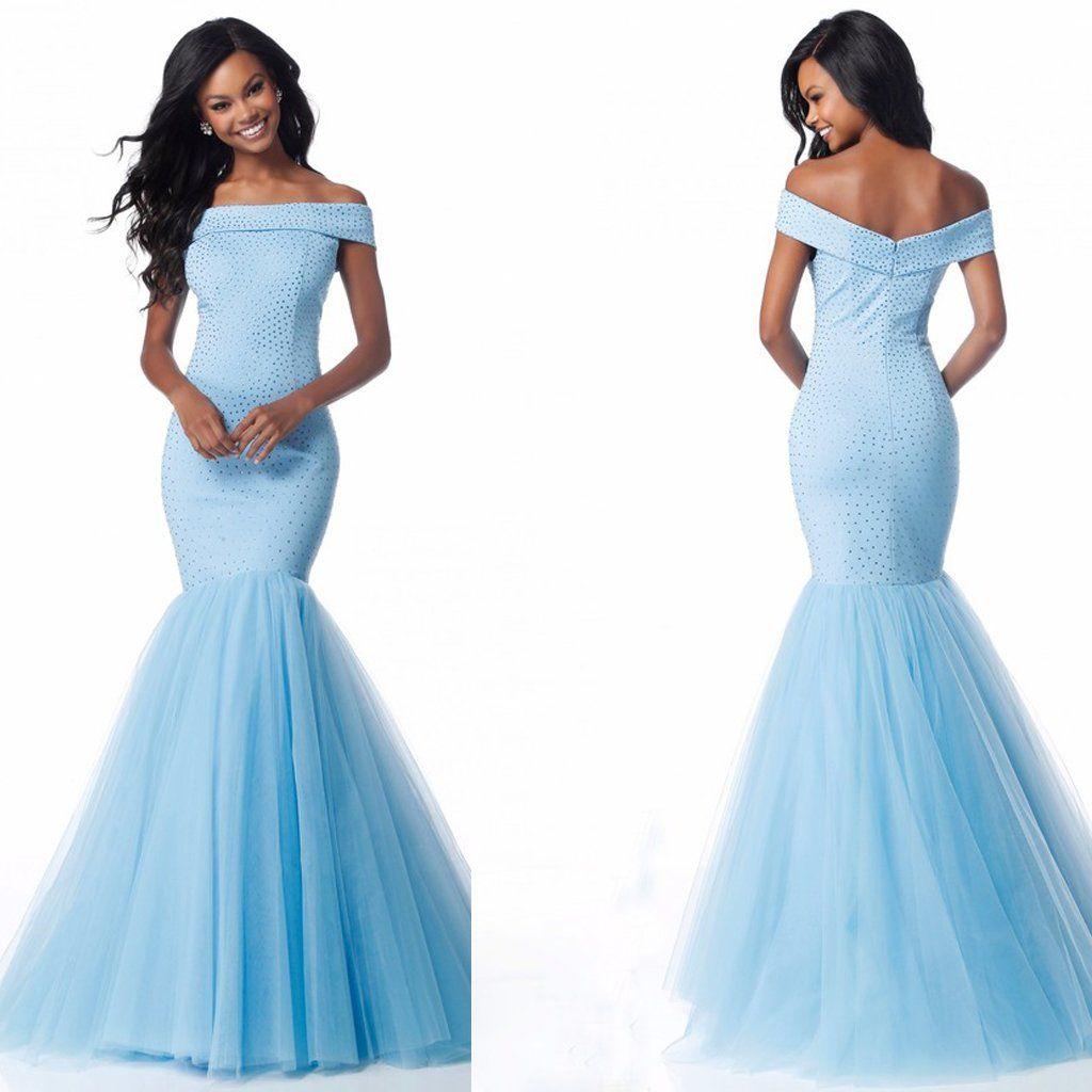 Long prom dress off shoulder prom dress tulle prom dress mermaid