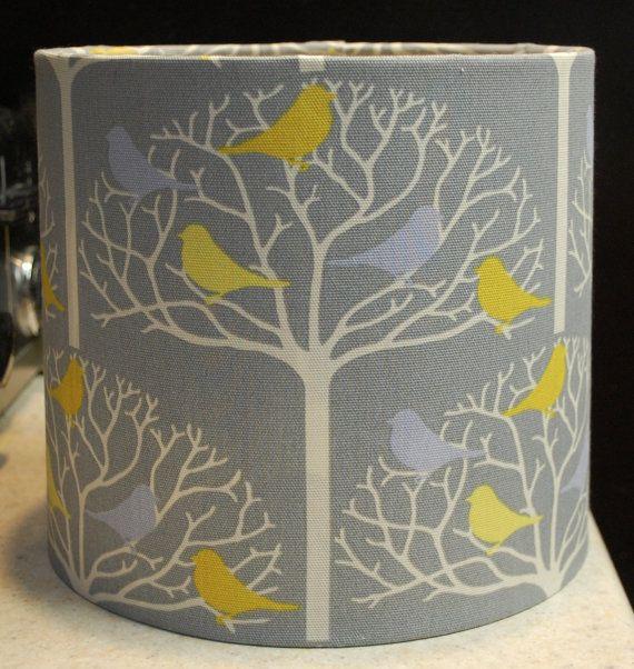 Custom Gray White Yellow Bird Tree Lamp Shade Lampshade