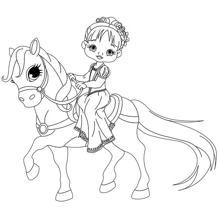 coloriage princesse cheval a imprimer gratuit