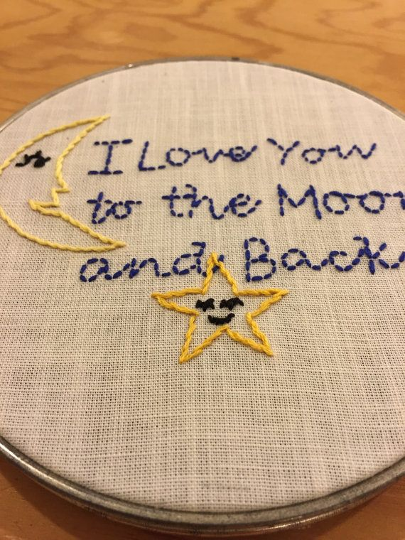 To The Moon and Back Embroidery Hoop by EmbroideryB on Etsy