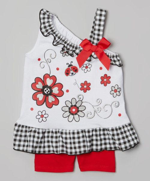 White Flower Yoke Tunic & Red Shorts - Infant, Toddler & Girls by Young Hearts #zulily #zulilyfinds