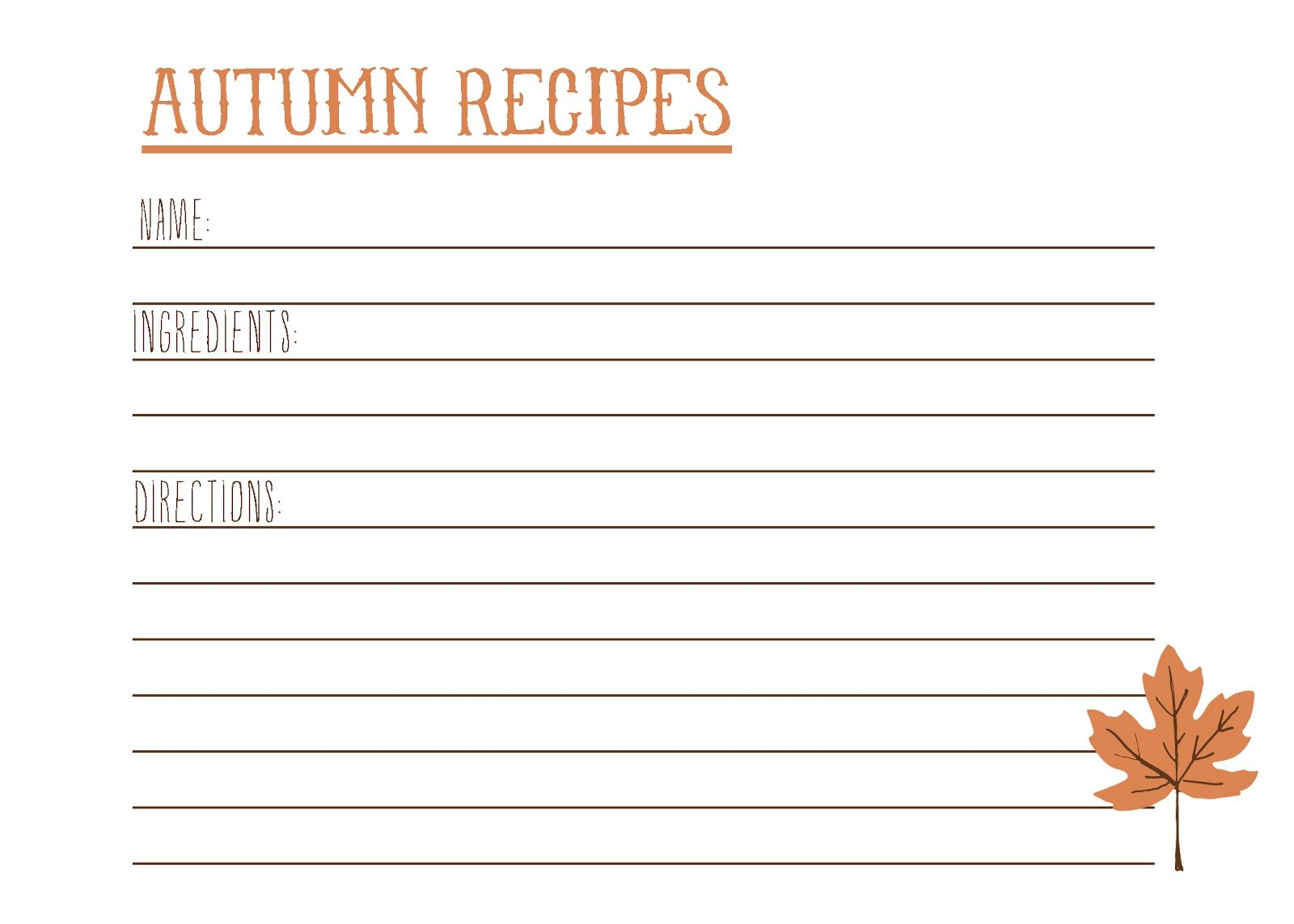 Free Printable Recipe Card With Images