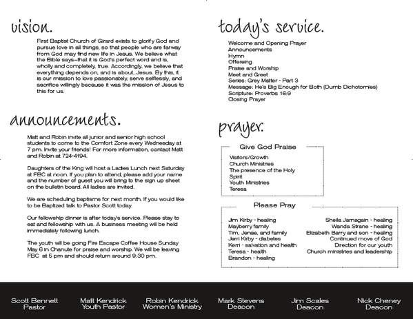 Nice church bulletin announcements and prayers layout for Sample church bulletins templates