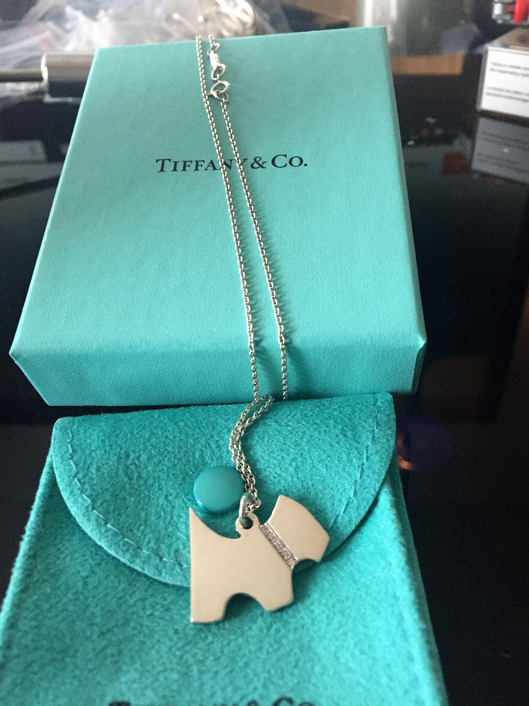 5a85506e8 VERY RARE, NEW!! Adorable Beloved Tiffany & Co. Sterling Silver Scottie Dog  Necklace on an 18