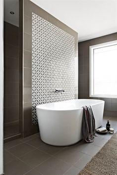 Tile Feature Wall Behind Bath Google Search Bathroom Design
