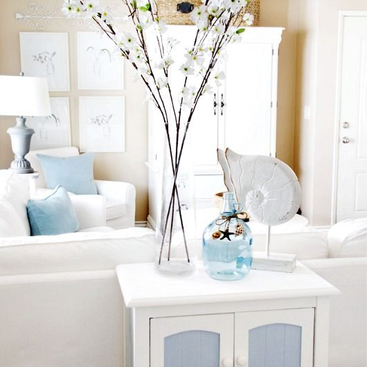 Creating A Beach Haven With White And Pastel Blue Http Www Pletely Coastal 2017 03 Cottage Decor Html Living Room