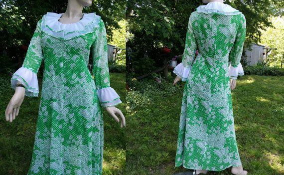 5b6b9e2d719 Plus Size 70s Prom Dress   Vintage Dress  Ruffle Dress  70s Dress ...