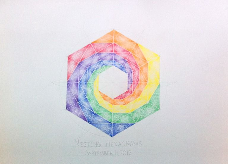 Age 12 ~ Geometric Drawing ~ Turning Nesting Hexagons ~ main lesson book