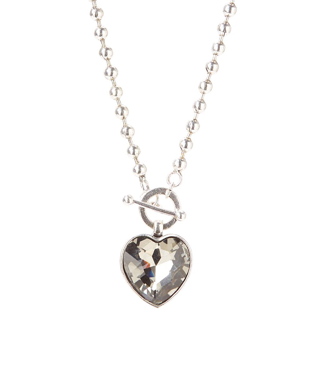 ZENZII Black Crystal Heart Locker Pendant Necklace | zulily  . $11.99 $28.50 Product Description:  Channel casual glamour with this textured necklace that features a glittering heart pendant.      Chain: 18'' L     Pendant: 1.25'' W x 2'' L     Toggle closure     Silvertone-plated base metal / crystal     Hypoallergenic     Imported