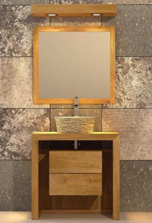 Meuble de salle de bain - Hoedic L80 en teck SDB Pinterest - teck salle de bain sol