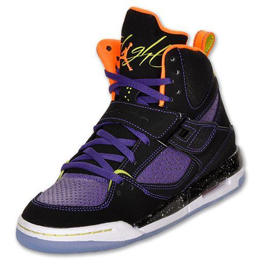 new product dbb81 991ea Jordan Flight 45 High Kids  Shoes   FinishLine.com   Black Purple  Orange Lime