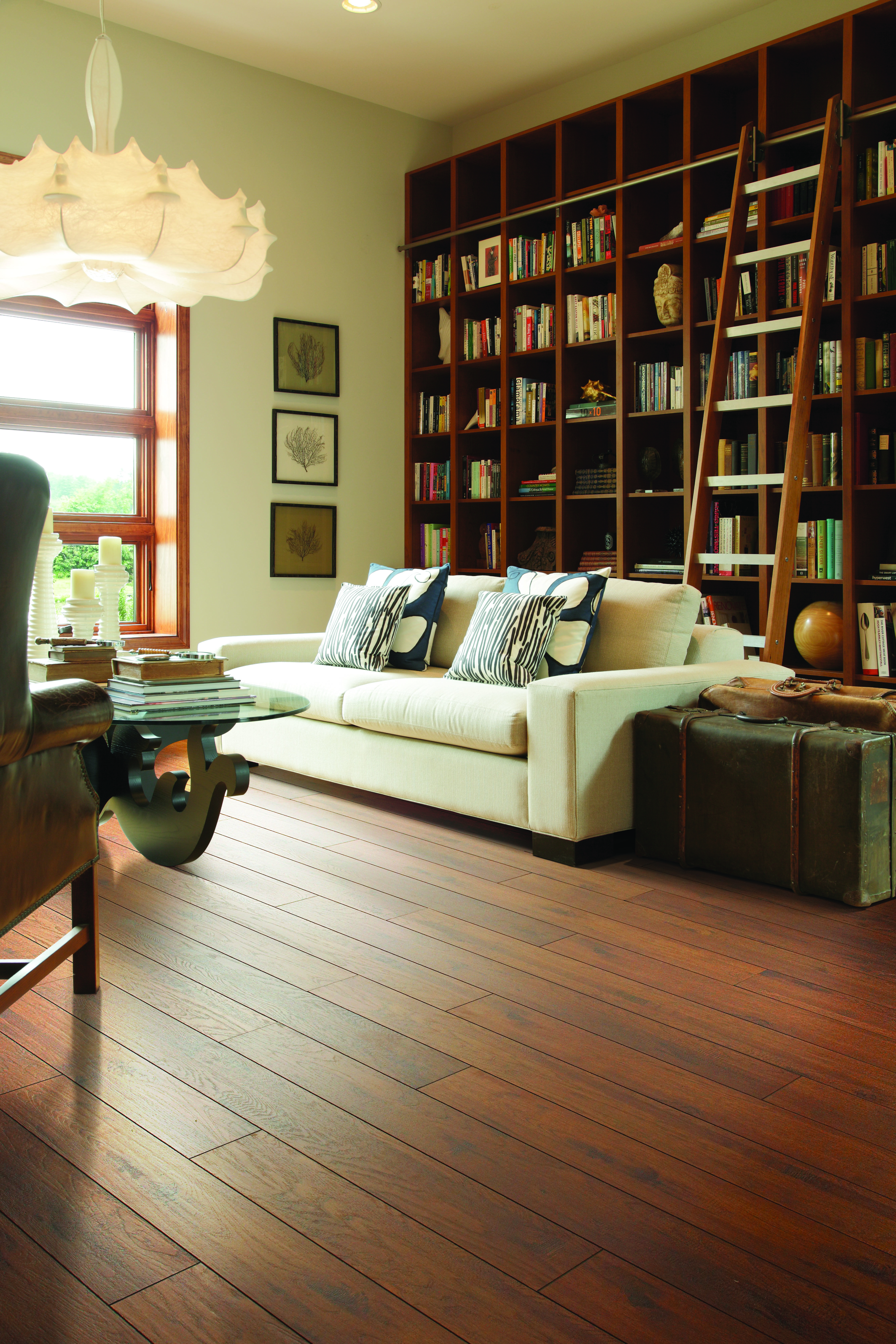 Beautiful Riverdale Hickory Laminate floors by Shaw with Builtin