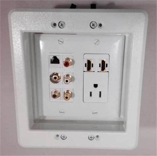 110v Ac Power Outlet 2 Hdmi 3 Rca Coax Tv Mini Audio Cat5e Recessed Wall Plate Plates On Wall Wall Mounted Tv Recessed Outlets
