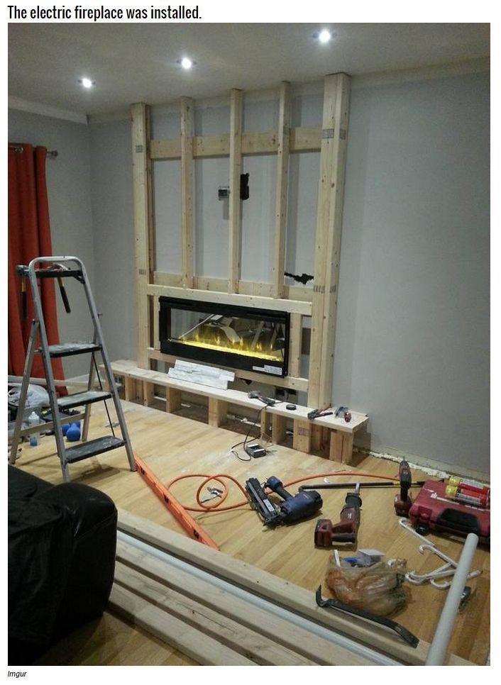 This Family Took A Boring Wall And Made It Into The Coolest Part Of The House 10 Photos Build A Fireplace Home Remodeling Electric Fireplace