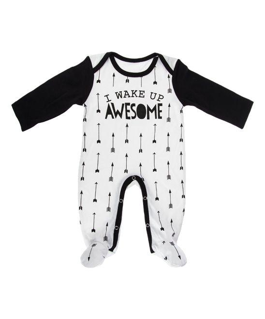 Black & White 'I Wake Up Awesome' Footie - Infant
