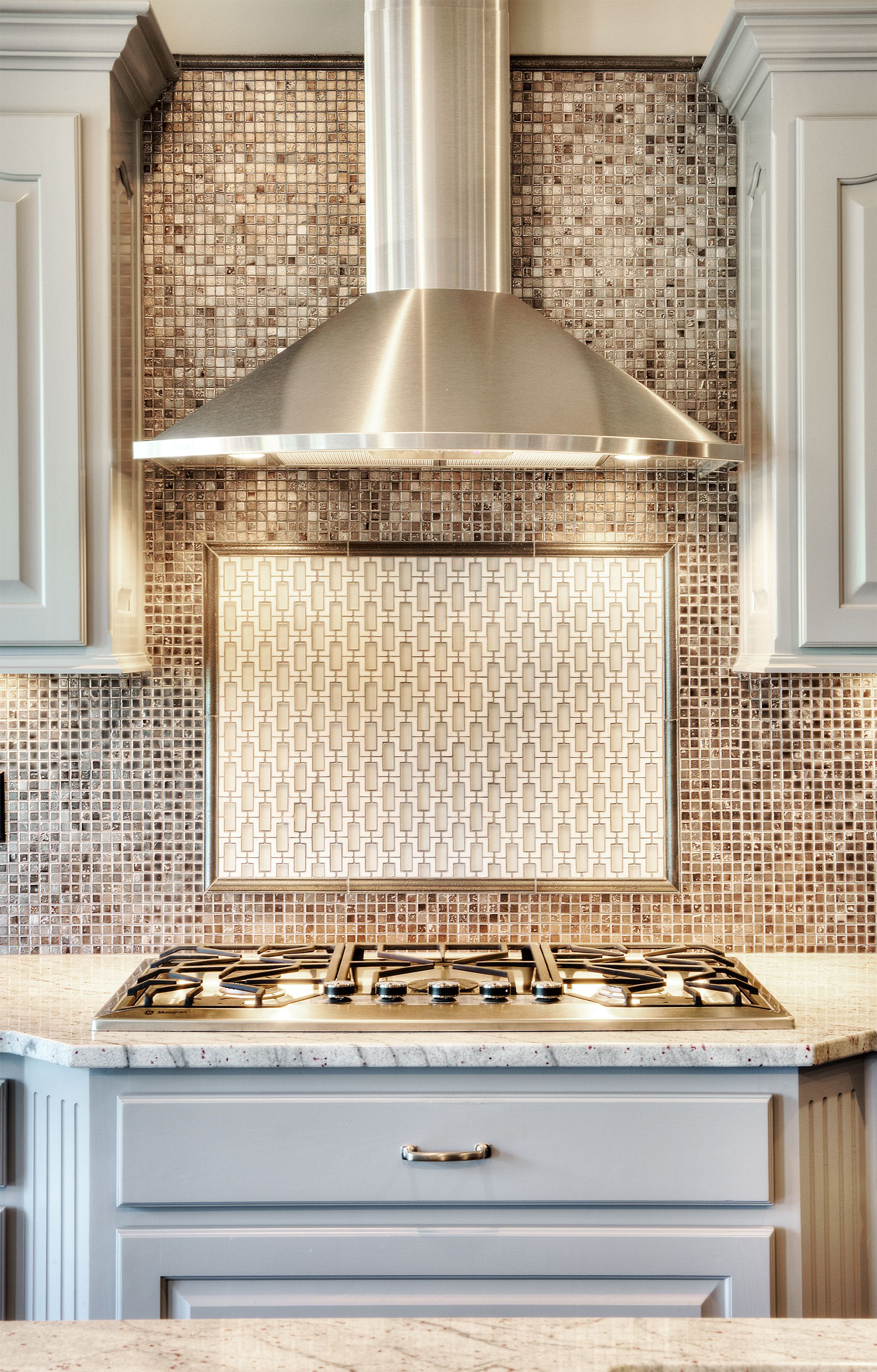 Chrome Stainless Steel Vent Hood Painted Kitchen Cabinets Mosaic