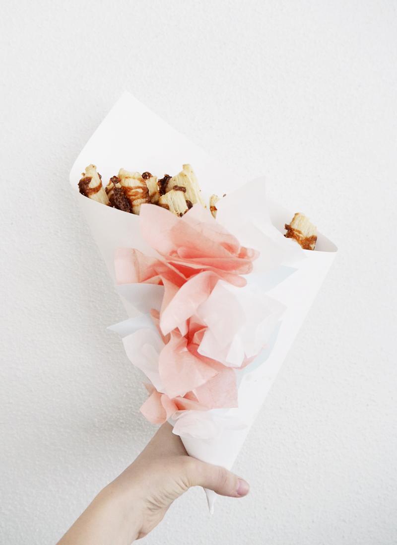 DIY cheese stics + paper cone