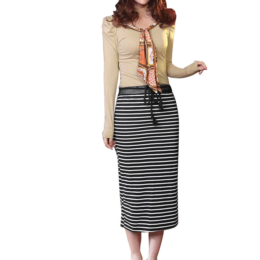 Lady Split Back Hem Drawstring Waist Black White Khaki Dress XS