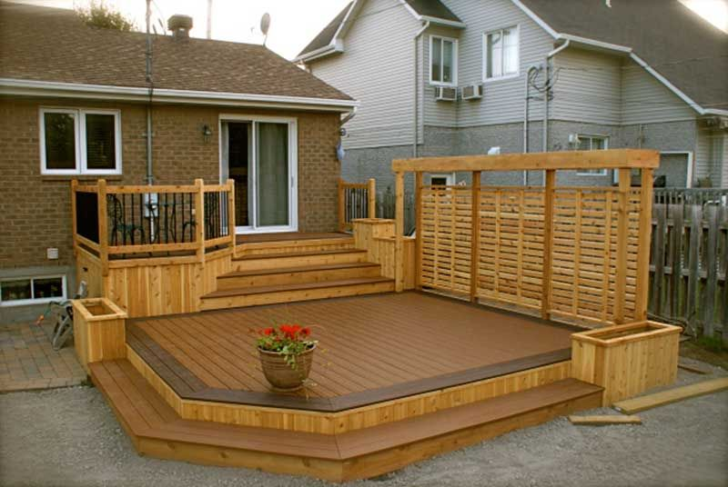 R alisation patio en bois trait 01 maison pinterest for Patio exterieur en bois