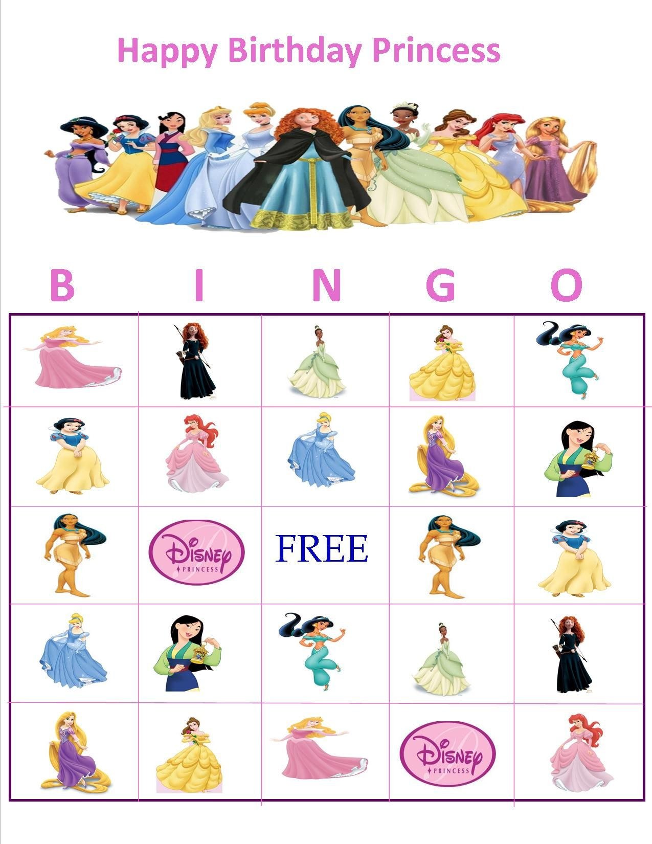 Personalized Character Bingo Princess Bingo Princess Party Games Princess