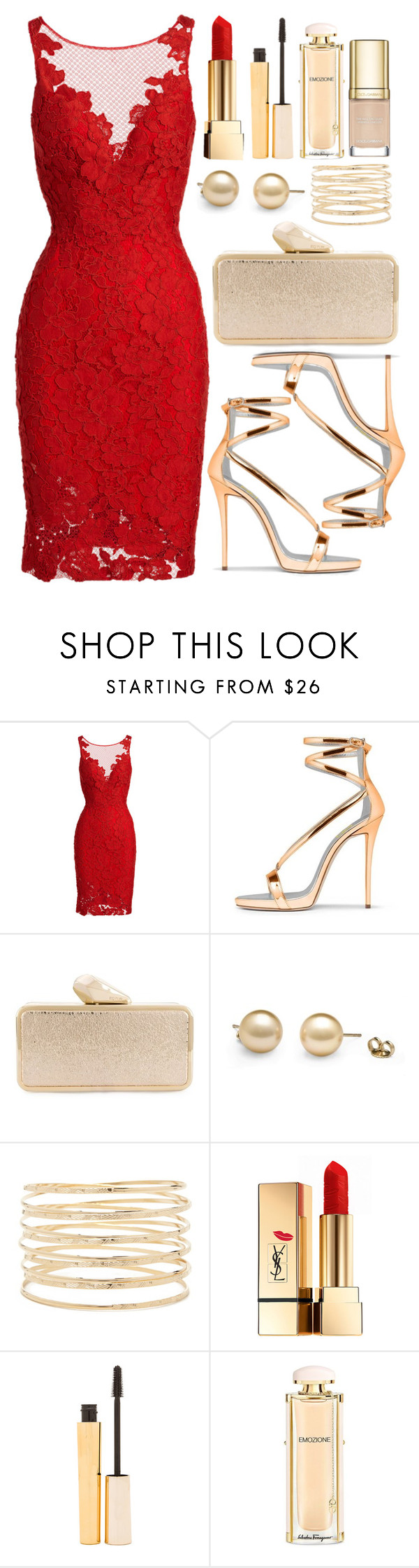"""""""Untitled #4137"""" by natalyasidunova ❤ liked on Polyvore featuring ML Monique Lhuillier, KOTUR, Forever 21, Yves Saint Laurent, Stila, Salvatore Ferragamo and Dolce&Gabbana"""