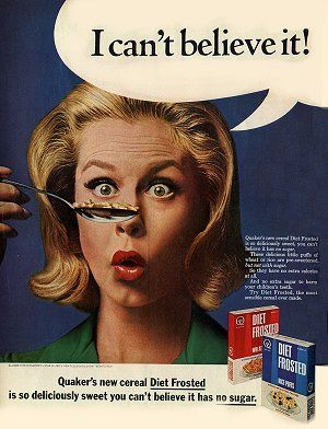 Quaker Diet Frosted Cereal Ad 1965