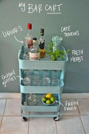Raskeg Ikea Cart - for Glasses/Dishware/Drink Storage in Main Room, and under Desk in Bedroom for Files/Desk Stuff