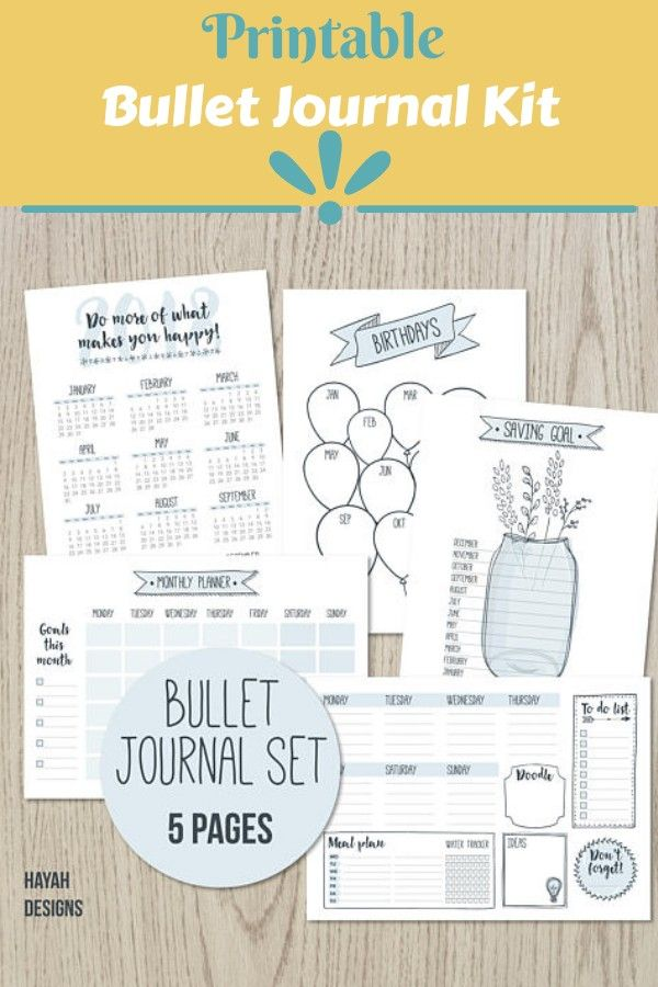 Bullet Journal 2018 Printable 5 Page Templates Weekly Monthly