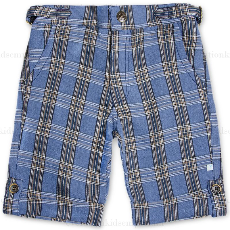Fore!! Axel & Hudson Classic Navy Plaid Linen Shorts: Designer Kids Clothes | Shop our Boutique for Cool Children's Clothing